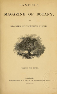 Title page of Paxton's Magazine of Botany and Flowering Plants