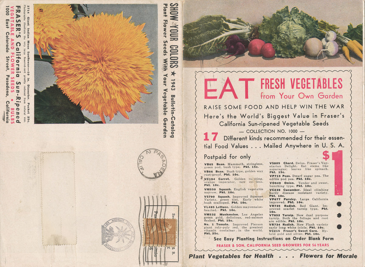 Fraser's CA Sun-Ripened Vegetable and Flower  Seeds 1943