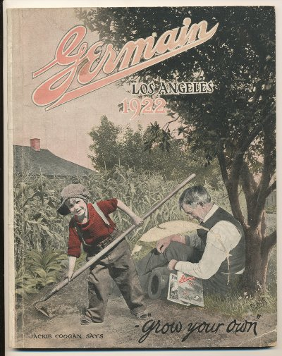 Germain's Seed Company 1922 catalog cover with Jackie Coogan