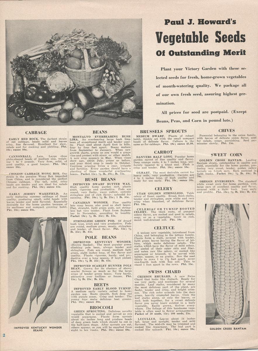 Paul J Howard's Flowerland Vegetabel Seeds of Outstanding Merit