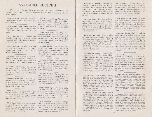 "Newbery Sherlock Avocado Nurseries 1917 ""Avocado Recipes"""