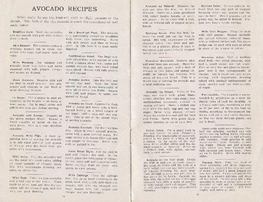 "Newbery Sherlock Avocado Nurseries 1917 ""Avocado Recipes"""